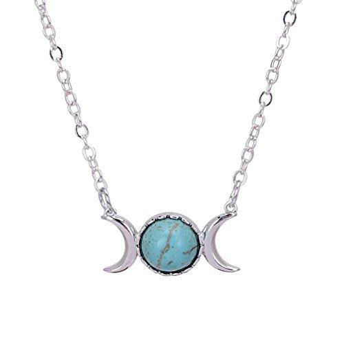 Bersh Lirica Opal Bead Triple Goddess Moon Pendant Necklace Healing Crystal Natural Stone Sailor Moon Necklace (Goddess Turquoise Necklace)