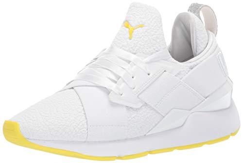 PUMA Women's Muse Sneaker White-Blazing Yellow, 9 M US (Sneakers Yellow Women)