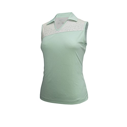 Monterey Club Ladies Dry Swing Crystal Detail Colorblock Sleeveless Polo Shirt #2093 (Fairest Jade/White, ()