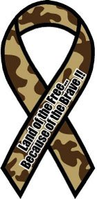 Camouflage Land of the Free Because of the Brave Ribbon Magnet