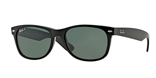 Ray-Ban RB2132 901/58 55M Black/Crystal Green Polarized NEW - Wayfarer Folded