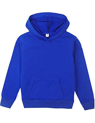 (Spring&Gege Youth Solid Pullover Sport Hoodies Soft Kids Hooded Sweatshirts for Boys and Girls Size 11-12 Years Royal Blue)
