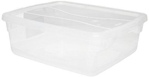"Rubbermaid Commercial 3Q24 CLE Polypropylene 15 Quart Roughtote Clear Non-Latching Storage Box, Rectangular, 16.9"" Depth x 13.4"" Width x 5.4"" Height, Clear"