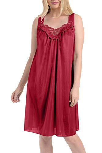 - Ezi Women's Satin Silk Sleeveless Lingerie Nightgowns,Wine,M