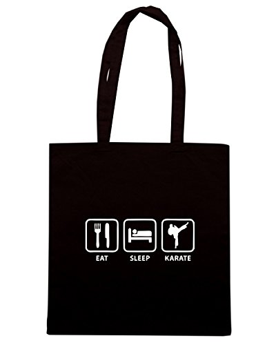 T-Shirtshock - Bolsa para la compra TAM0030 eat sleep karate hoodie dark Negro