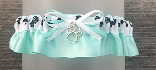 Dog Pet Love Black White Aqua Satin Wedding Keepsake Garter Silver Paw Print Charm