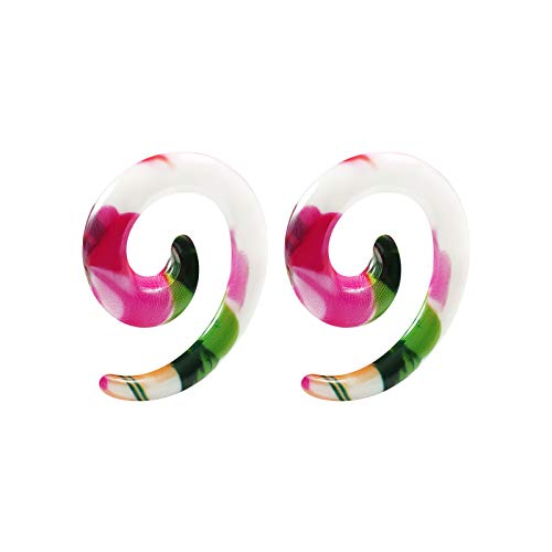 BIG GAUGES Pair of Acrylic 6g Gauge 4mm Spiral Taper Expander Hand Painted Beach Piercing Jewelry Earring Stretching Ear Plugs BG2796 ()