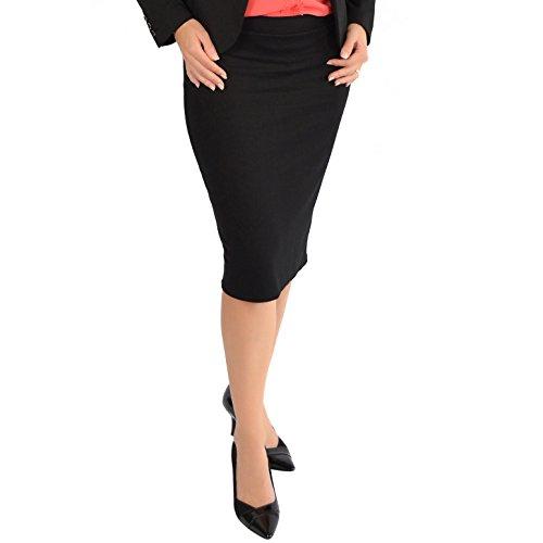 Stretch Is Comfort Women's Back Slit Fitted Skirt Black 2X Back Slit Stretch Skirt