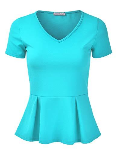 EIMIN Women's Short Sleeve V-Neck Stretchy Flare Peplum Blouse Top Aqua 3XL ()
