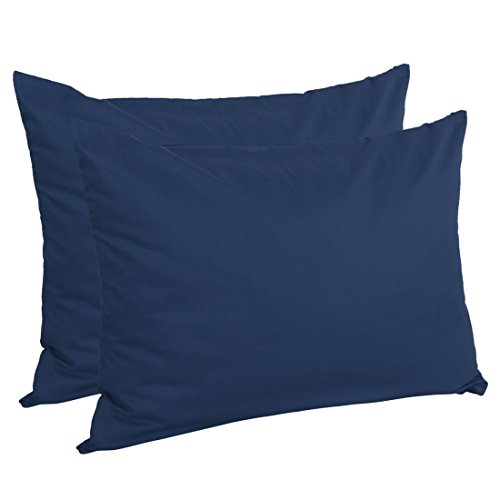 Navy Zippered - uxcell Zippered Standard Pillow Cases Pillowcases Covers, Egyptian Cotton 300 Thread Count, 20 x 26 inch, Navy Blue, Set of 2