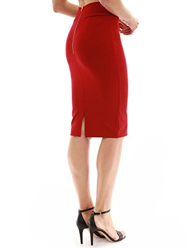 PattyBoutik Women Back Slit Pencil Skirt (Deep Red X-Small)
