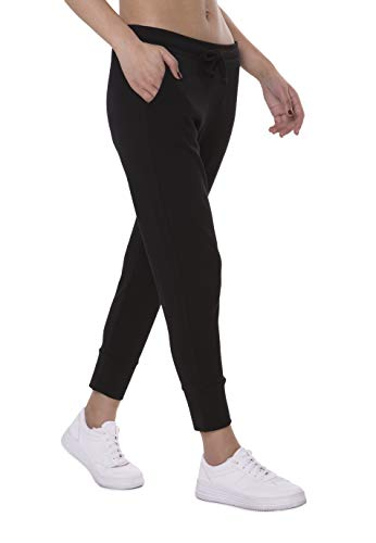 FORBIDEFENSE Women's Capri Pants Stretch Lounge Joggers Cropped Active Sweat Pants with Pockets Black Small