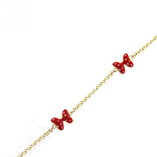 18K yellow gold red enamel bow with white dots bracelet 6 inches sizeable down to 5.5 inches by Amalia