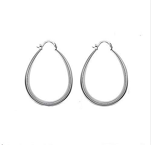 MAIDIEN 925 Sterling Silver Fashion Classic Big Hoop Drop Dangle Earring