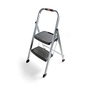 Rubbermaid RM-2W Folding 2-Step Steel Frame Stool with Hand Grip and Plastic Steps, 200-Pound Capacity, Silver Finish