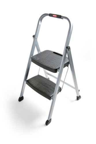 Two Step Folding Ladder (Rubbermaid RM-2W Folding 2-Step Steel Frame Stool with Hand Grip and Plastic Steps, 200-Pound Capacity, Silver Finish)