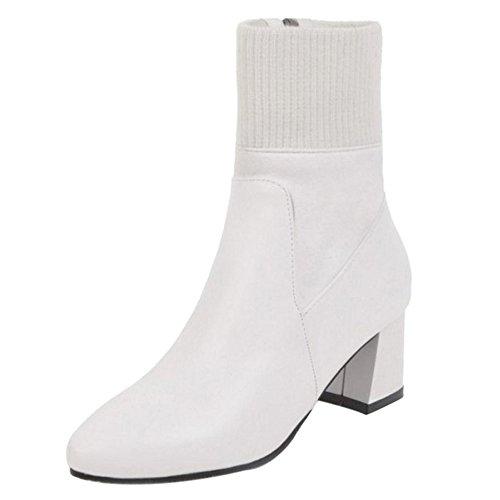 COOLCEPT Women Boots Zipper White iMSW0M9