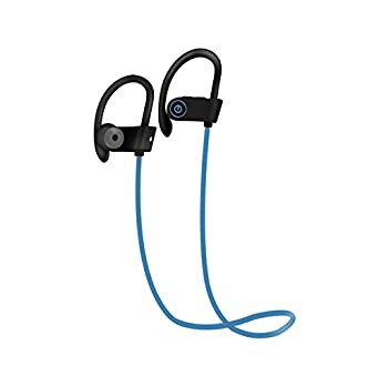 Black Bluetooth Heaphones w// Mic Wireless Noise Cancelling Earphones Ezone IPX7 Water Resistant HD Stereo Sweatproof Earbuds for Gym Running Workout 8 Hour Battery Headphones