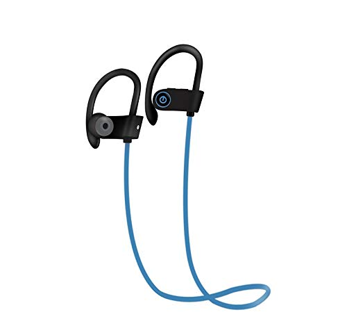 Bluetooth Headphones w/Mic Wireless Noise Cancelling Earphones, TechFaith IPX7 Waterproof HD Stereo Sweatproof Earbuds for Gym Running Workout 8 Hour Battery Headphones (Baby Blue)