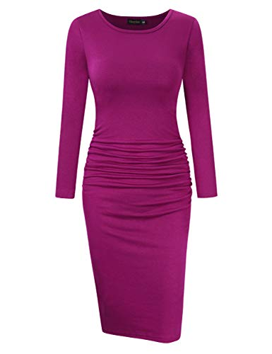 - GloryStar Women's Long Sleeve Ruched Bodycon Midi Sheath Pencil Dress Fuchsia S