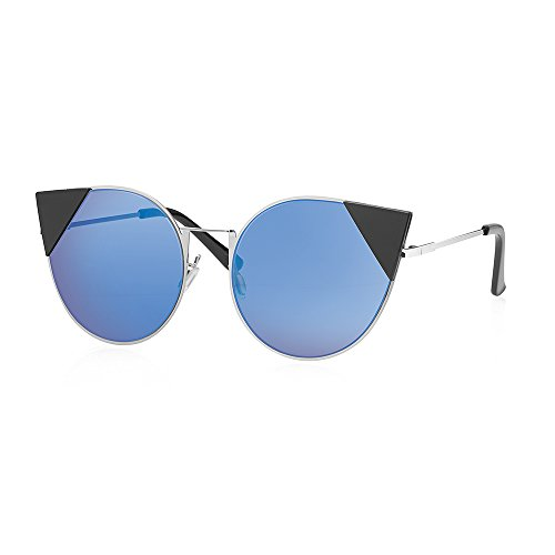 Fashion Cat Eye Mirrored Flat Lens Metal Frame Women Sunglasses M10351 (SILVER + - Mens Gentle Sunglasses Monster