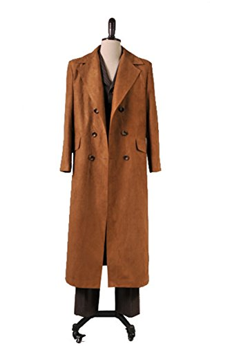 Doctor 10th Dr Costume Who (Cosdaddy Men's Doctor Dr. Brown Coat Suit set Cosplay Costume (M, Full)