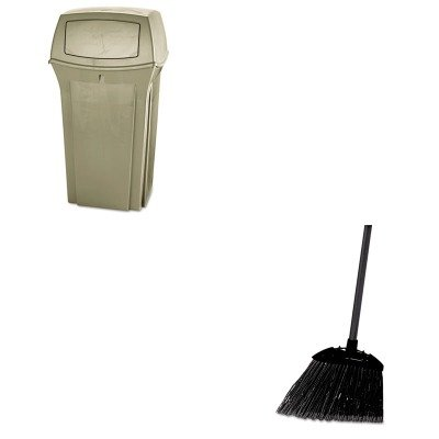 KITRCP637400BLARCP843088BG - Value Kit - Beige Ranger Container, 35 Gallon (RCP843088BG) and Rubbermaid-Black Brute Angled Lobby Broom (RCP637400BLA) by Rubbermaid