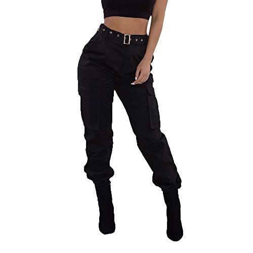 Women Camo Trouser Jogger Pants Plus Size Casual Cargo Hip Hop Rock Trousers (Earth Skinny Stripe)