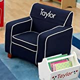 PERSONALIZED Blue Toddler's Laguna Chair - Font: Block, Font Color: White