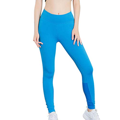 LiLiMeng Women's Fitness Solid Yoga Pants High Waist Reflective Strip Night Running Fast-Drying Pants Stretch Trousers Blue