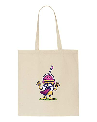 Freeze Slush Bag Halloween Graphic Shopper Brain Tote Beige Drink 66pEwBqT