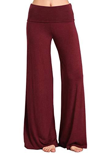 Hippie Plus Size Clothes - HEYHUN Plus Size Womens Solid Wide Leg Bottom Boho Hippie Lounge Palazzo Pants - Heathered Burgundy - 3XL
