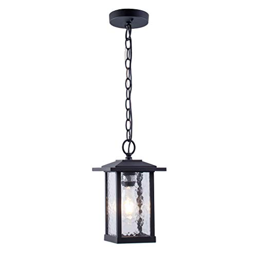 Outdoor Pendant Lighting, 1-Light Outdoor Hanging Lantern, Farmhouse Style Exterior Porch Lights in Matte Black Finish with Water Glass, - Exterior Pendant Classic