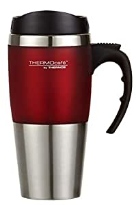 Thermos THERMOcafe Double Wall Travel Mug, 450ml, Red Trim, DF1400R