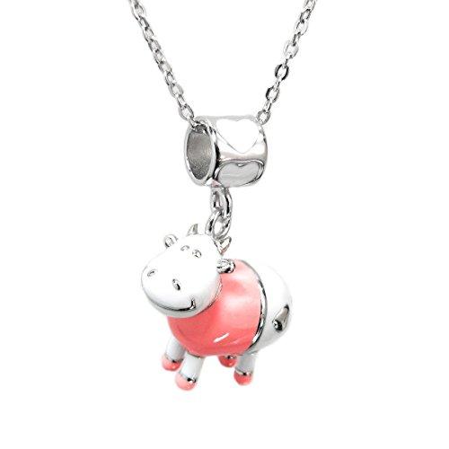 Émail rose dangle Charm Perle Vache Pendentif chaîne en argent sterling collier 35,6cm + Rallonge 5,1cm