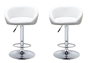 2 Barstools Swivel Seat White PU Leather Modern Adjustable Hydraulic Bar  Stool