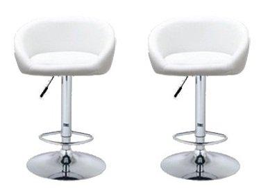 Stupendous 2 Barstools Swivel Seat White Pu Leather Modern Adjustable Hydraulic Bar Stool Theyellowbook Wood Chair Design Ideas Theyellowbookinfo