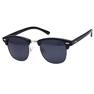 GUVIVI Neutral Retro Border Polarized Sunglasses (matte black/grey/silver)