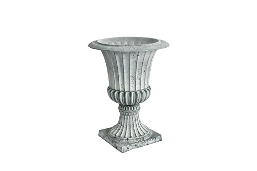 - Algreen 42641 Rustic Concrete Urn Planter, Weathered Grey