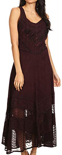 Sakkas 15225 - Zendaya Stonewashed Rayon Embroidechocolate Floral Vine Sleeveless V-Neck Dress - Chocolate - S/M