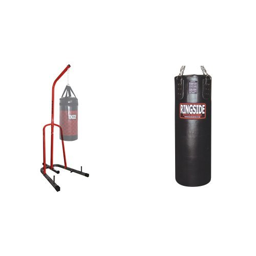 Ringside Leather Boxing Punching Bag and Punching Bag Stand Bundle by