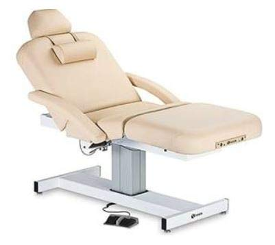 Professional Spa Pneumatic Massage Table with Headrest, Neckroll and Flex Arm Rest (Beige, 28