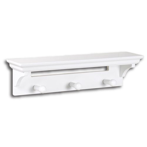 InPlace Shelving 0199144 Wall Shelf with Pegs, White, 17-Inch Wide by 4-Inch Deep by 4.5-Inch High