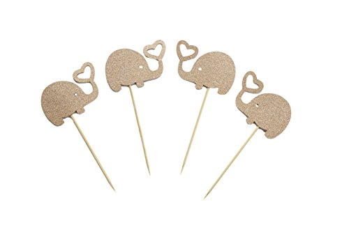 Rose Gold/Gold Glitter Cute Elephant Cupcake Topper for Baby Birthday and Baby Shower Cake Decoration (Rose Gold) ()