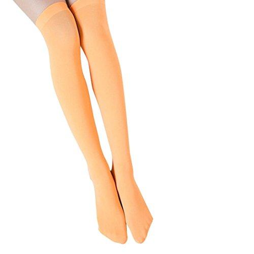 Lange Sokken Voor Dames, Bijv. Modieuze Sokken Met Hoge Verleiding, Stretch Nylon, Oranje