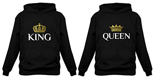 TeeStars King & Queen Matching Couple Hoodie Set Valentine's Day Gift His & Hers Women Hoodie Women Medium/Men Medium,Black (Her Day For Valentines Present)