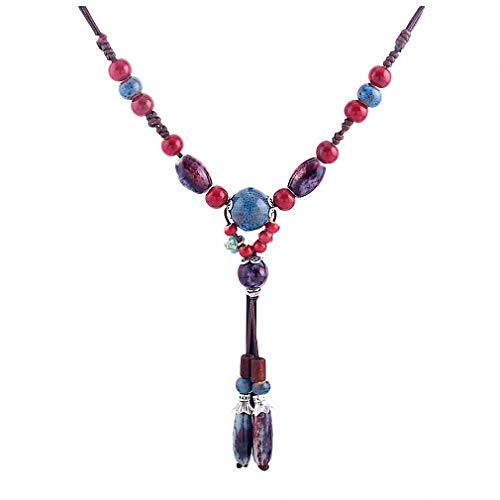 ace Handmade Vintage Style Colorful Ceramic Stone Bead Pendant Necklace Long Sweater Chain Necklace Jewelry for Female ()
