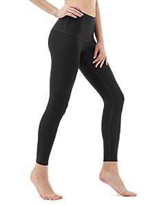 Tesla TM-FYP52-BLK_Medium Yoga Pants High-Waist Tummy Control w Hidden Pocket FYP52
