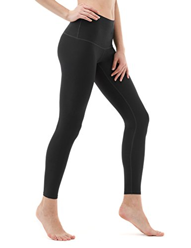 TSLA Yoga Pants Mid-Waist/High-Waist Tummy Control w Side/Hidden Pocket Series, Yogabasic Thick Contour(fyp52) – Black, X-Small (Size 4-6_Hip35-37 Inch)