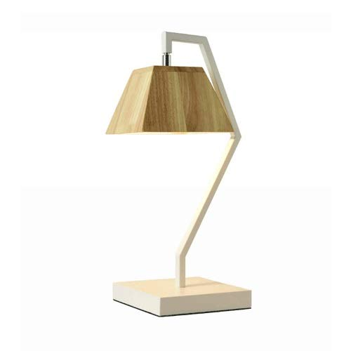 Raw Brass Table Lamp - Fofofs Retro Table Lamp Nordic Creative Simplicity Wooden Lampshade Metal Desk Lamp E27 Personality Fashion Wrought Iron Office Table Living Room Bedroom Bar Study Reading Lamp